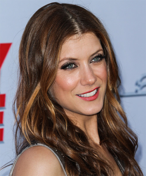 Kate Walsh Long Wavy Casual   Hairstyle   - Medium Brunette - Side on View