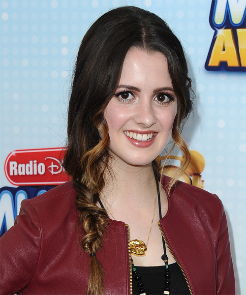 Laura Marano Half Up Long Curly Casual Braided Half Up Hairstyle   - Dark Brunette - Side on View