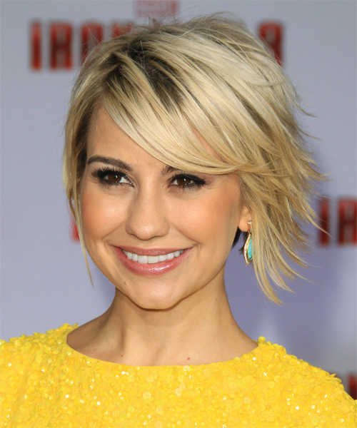 Chelsea Kane Short Straight Casual    Hairstyle with Side Swept Bangs  - Light Blonde Hair Color - Side on View