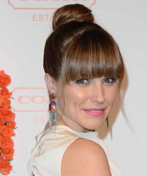 Sophia Bush  Long Straight Formal   Updo Hairstyle with Blunt Cut Bangs  - Medium Chestnut Brunette Hair Color - Side on View