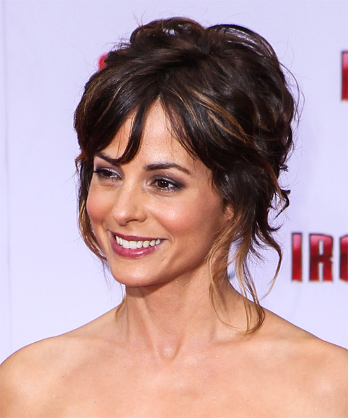 Stephanie Szostak  Long Curly   Dark Mocha Brunette  Updo    with Dark Blonde Highlights - Side on View
