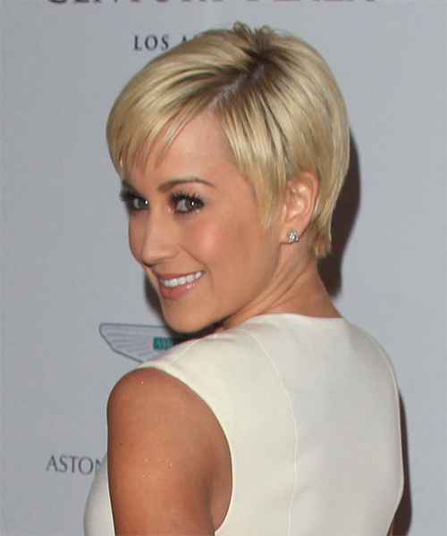 Kellie Pickler Short Straight Formal    Hairstyle with Layered Bangs  - Light Blonde Hair Color - Side on View