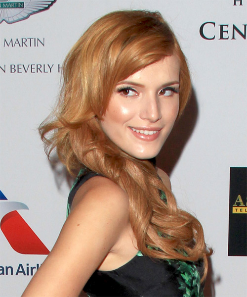 Bella Thorne Long Wavy Formal   Hairstyle   - Light Red (Copper) - Side on View