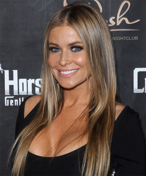 Carmen Electra Long Straight   Light Caramel Brunette   Hairstyle   with Light Blonde Highlights - Side on View
