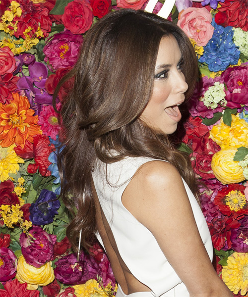 Eva Longoria Parker Long Wavy    Chocolate Brunette   Hairstyle   - Side on View