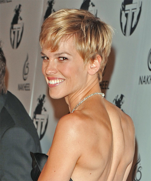 Hilary Swank Short Straight Casual    Hairstyle   - Side on View