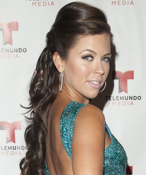 Ximena Duque Half Up Long Curly Formal Wedding Half Up Hairstyle   - Medium Brunette - Side on View