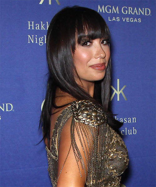 Cheryl Burke Long Straight Formal   Hairstyle with Blunt Cut Bangs  - Dark Brunette (Mocha) - Side on View