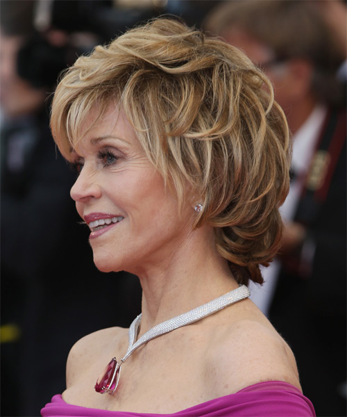Jane Fonda Short Straight    Blonde   Hairstyle with Layered Bangs  - Side on View