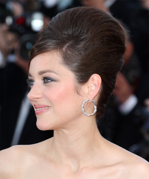 Marion Cotillard Updo Long Straight Formal Wedding Updo Hairstyle   - Dark Brunette (Chocolate) - Side on View