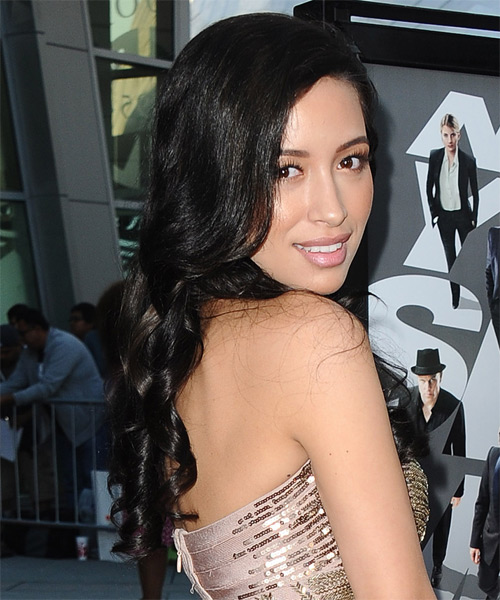 Christina Serratos Long Wavy Formal   Hairstyle   - Side on View