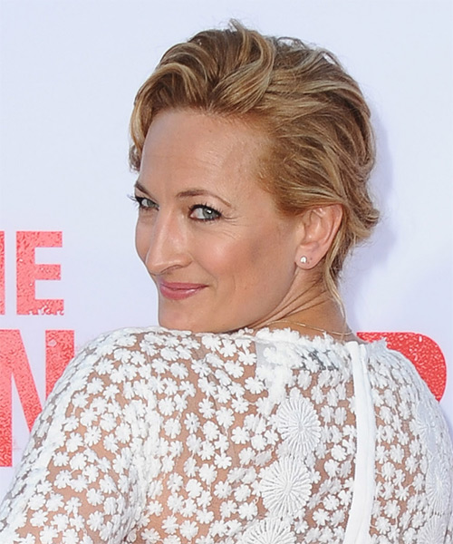 Zoe Bell  Long Curly Formal   Updo Hairstyle   - Light Copper Brunette Hair Color with Light Blonde Highlights - Side on View