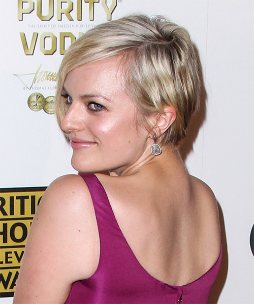 Elisabeth Moss Short Straight Casual    Hairstyle   - Medium Blonde Hair Color with Light Blonde Highlights - Side on View