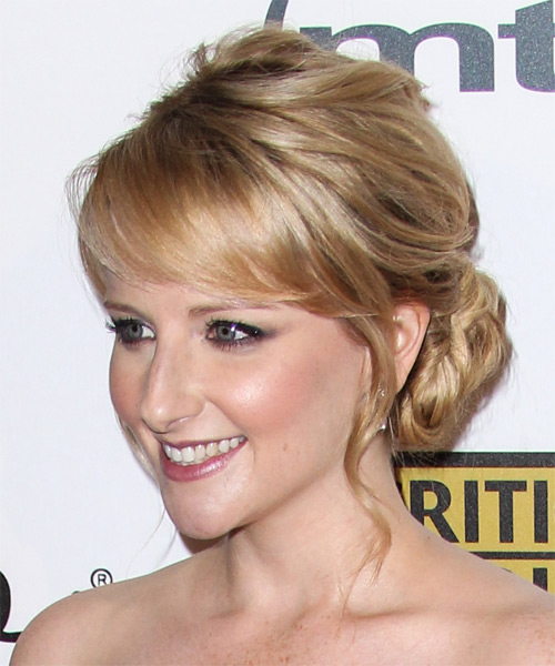 Melissa Rauch  Long Curly Formal   Updo Hairstyle   -  Strawberry Blonde Hair Color with Light Blonde Highlights - Side on View
