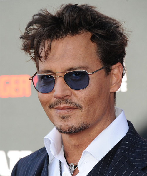 Johnny Depp Short Straight Casual    Hairstyle   - Dark Brunette Hair Color - Side on View