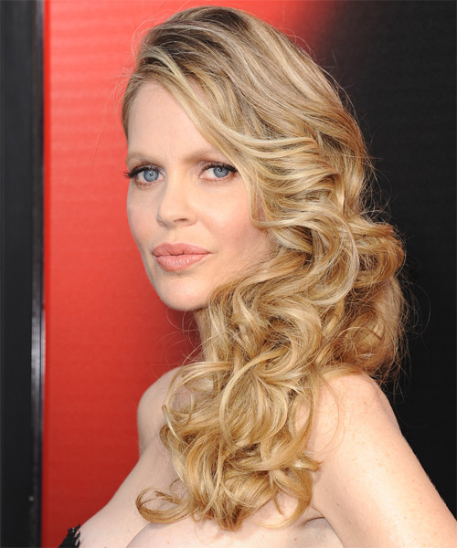 Kristin Bauer Long Wavy Formal   Hairstyle   - Side on View