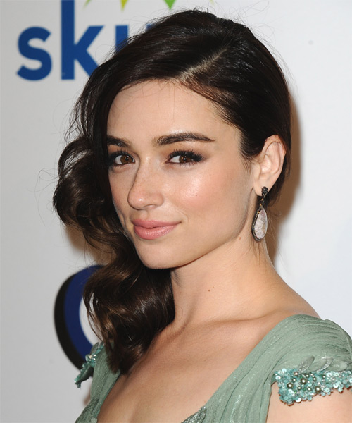 Crystal Reed Medium Wavy Formal   Hairstyle   - Side on View