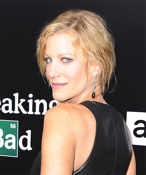 Anna Gunn Half Up Long Curly Casual  Half Up Hairstyle   - Side on View