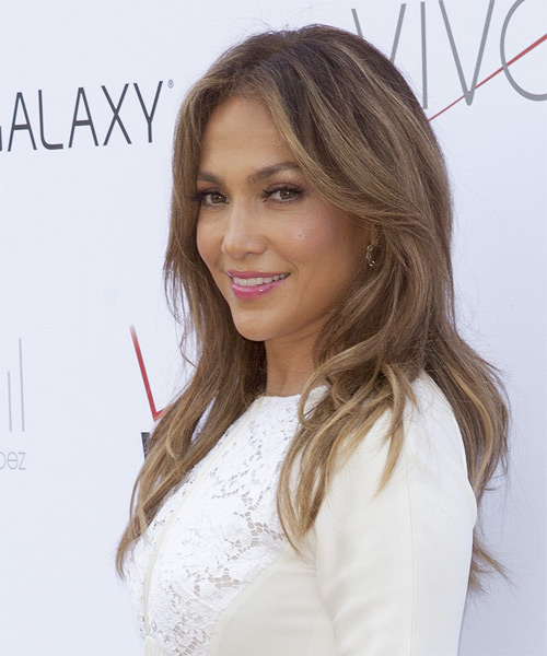 Jennifer Lopez Long Straight Casual    Hairstyle   -  Chestnut Brunette Hair Color - Side on View