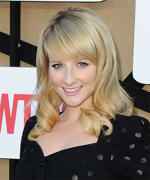 Melissa Rauch Long Wavy Formal   Hairstyle   - Side on View