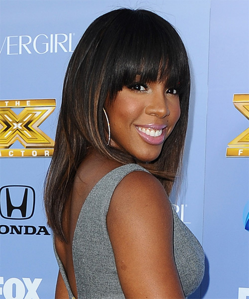 Kelly Rowland Medium Straight Formal   Hairstyle   - Side on View