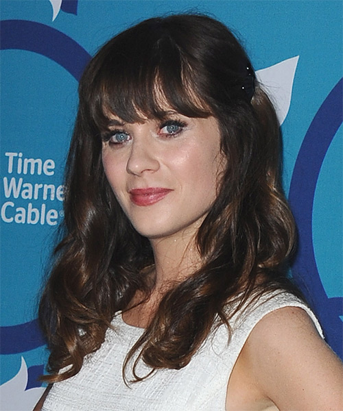 Zooey Deschanel Long Wavy Casual   Hairstyle with Blunt Cut Bangs  - Dark Brunette - Side on View