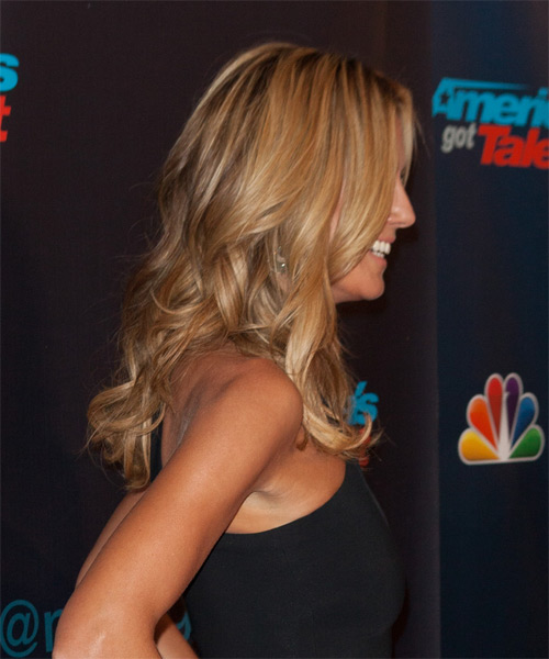 Heidi Klum Long Wavy Casual    Hairstyle   - Medium Honey Blonde Hair Color - Side on View