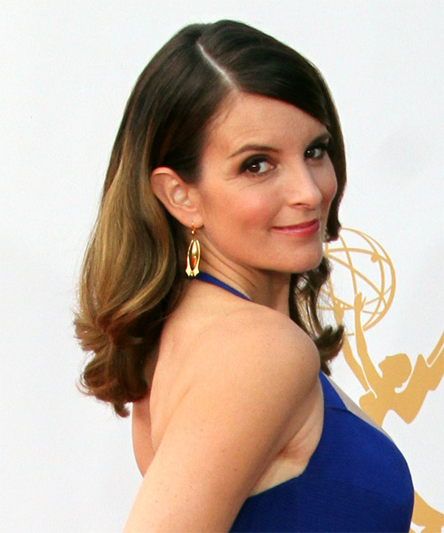 Tina Fey Long Wavy Formal   Hairstyle   - Side on View