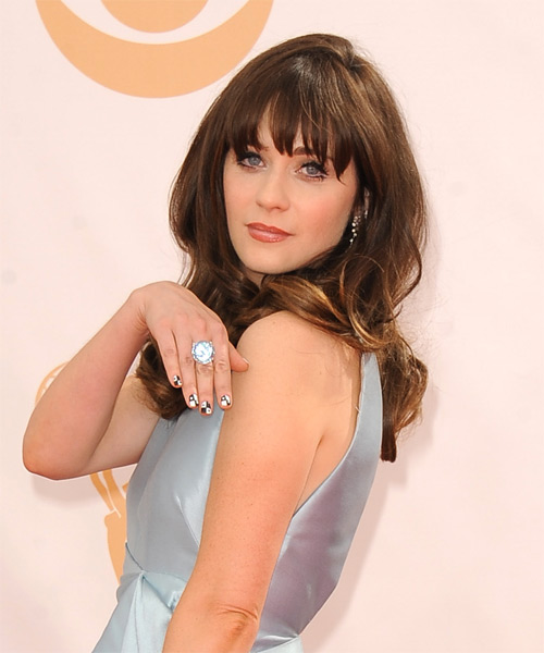 Zooey Deschanel Long Straight Formal   Hairstyle with Blunt Cut Bangs  - Side on View