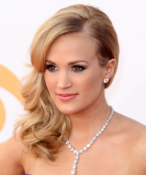 Carrie Underwood Half Up Long Curly Formal  Half Up Hairstyle   - Side on View