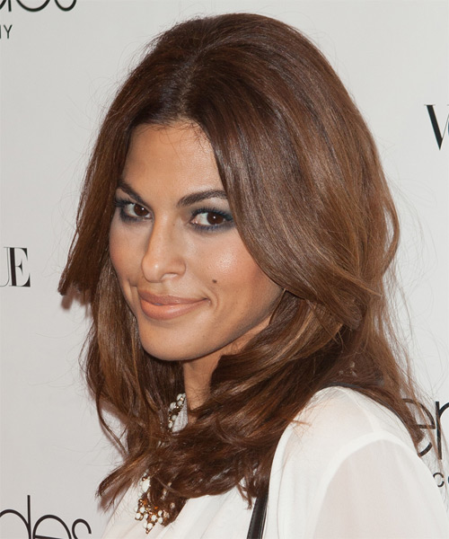 Eva Mendes Medium Straight Formal   Hairstyle   - Side on View
