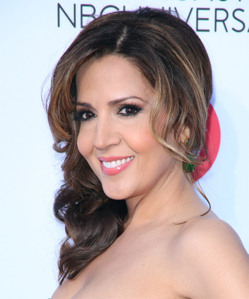 Maria Canals Berrera  Medium Curly Formal   Updo Hairstyle   - Side on View