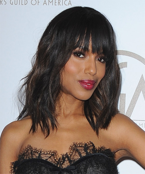 Kerry Washington Medium Wavy     Hairstyle   - Side on View