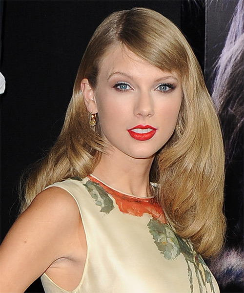 Taylor Swift Long Straight     Hairstyle with Side Swept Bangs  - Side on View