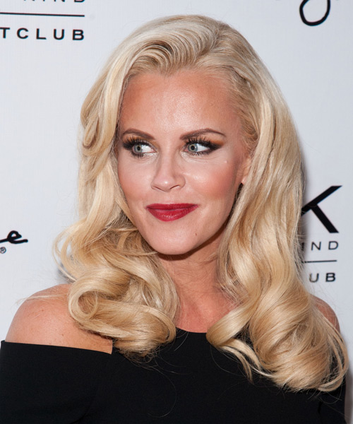 Jenny McCarthy Long Wavy Formal    Hairstyle   - Light Blonde Hair Color - Side on View
