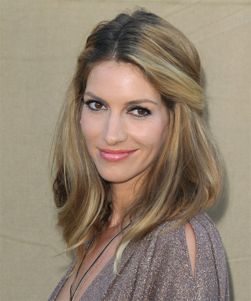 Dawn Olivieri  Long Straight Casual   Half Up Hairstyle   - Side on View