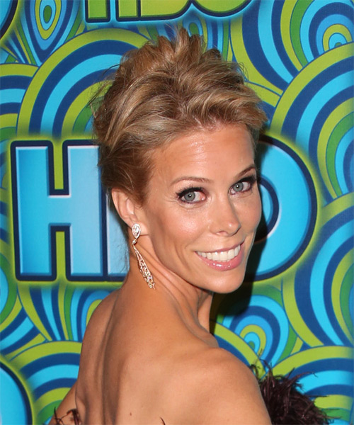 Cheryl Hines  Long Straight Casual   Updo Hairstyle   - Dark Golden Blonde Hair Color - Side on View