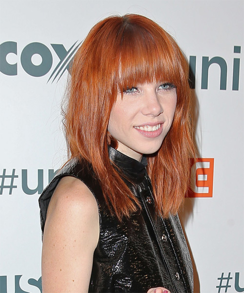 Carly Rae Jepsen Long Straight Casual   Hairstyle   - Side on View