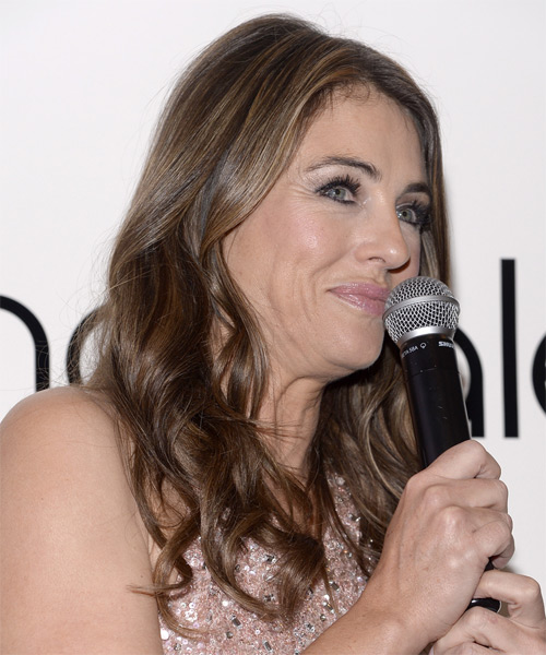 Elizabeth Hurley Long Wavy Casual   Hairstyle   - Side on View