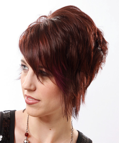 Short Straight    Mahogany Brunette   Hairstyle with Side Swept Bangs  - Side on View