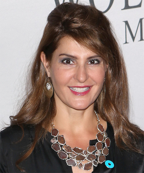 Nia Vardalos  Long Straight Casual   Half Up Hairstyle   - Side on View