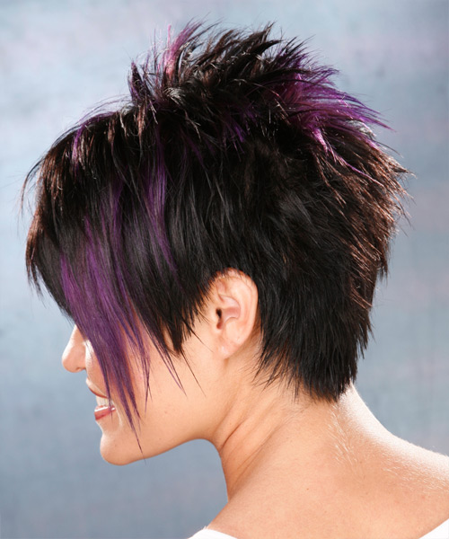 Short Straight Alternative    Hairstyle   - Black Plum  Hair Color with Purple Highlights - Side on View