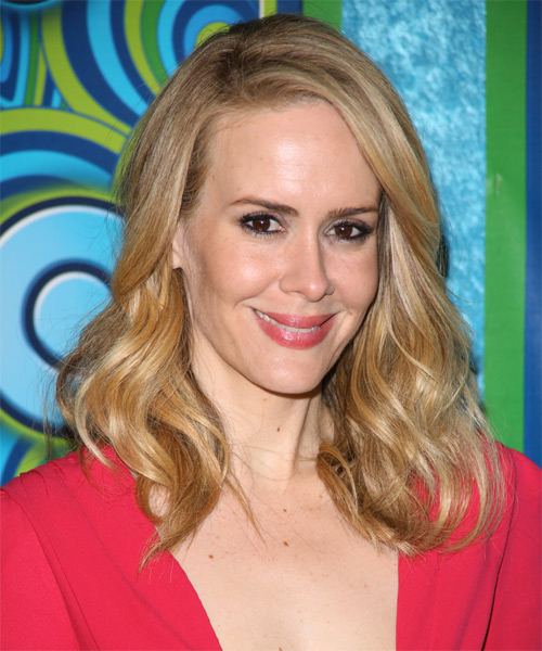 Sarah Paulson Medium Wavy Casual    Hairstyle   - Side on View