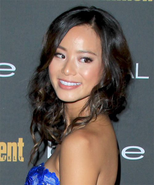 Jamie Chung  Long Curly Formal   Half Up Hairstyle   - Side on View