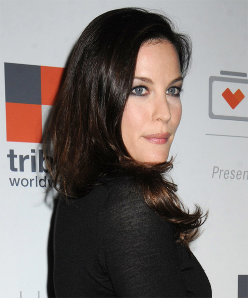 Liv Tyler Long Straight   Dark Brunette   Hairstyle   - Side on View