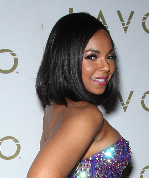 Ashanti Medium Straight Formal   Hairstyle   - Side on View