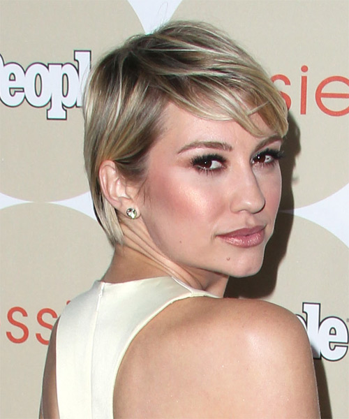 Chelsea Kane Short Straight     Hairstyle with Side Swept Bangs  - Side on View