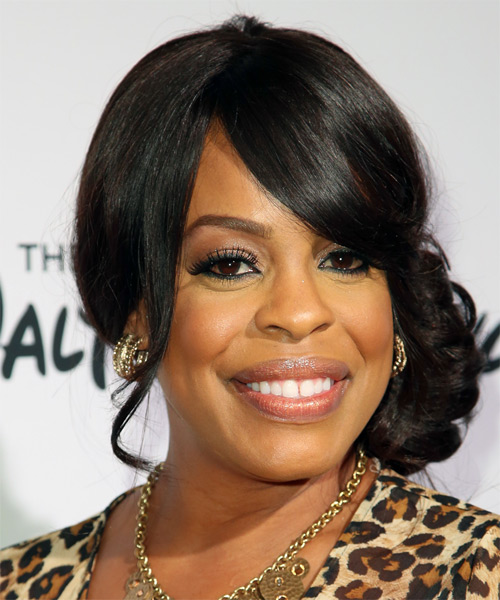 Niecy Nash Updo Long Curly Formal Wedding Updo Hairstyle with Side Swept Bangs  - Black - Side on View