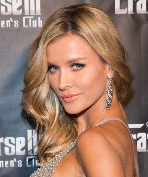 Joanna Krupa Long Wavy Formal    Hairstyle   - Medium Blonde Hair Color with Light Blonde Highlights - Side on View
