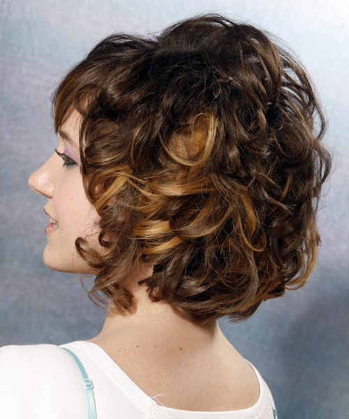 Medium Curly   Dark Mocha Brunette   Hairstyle   - Side on View